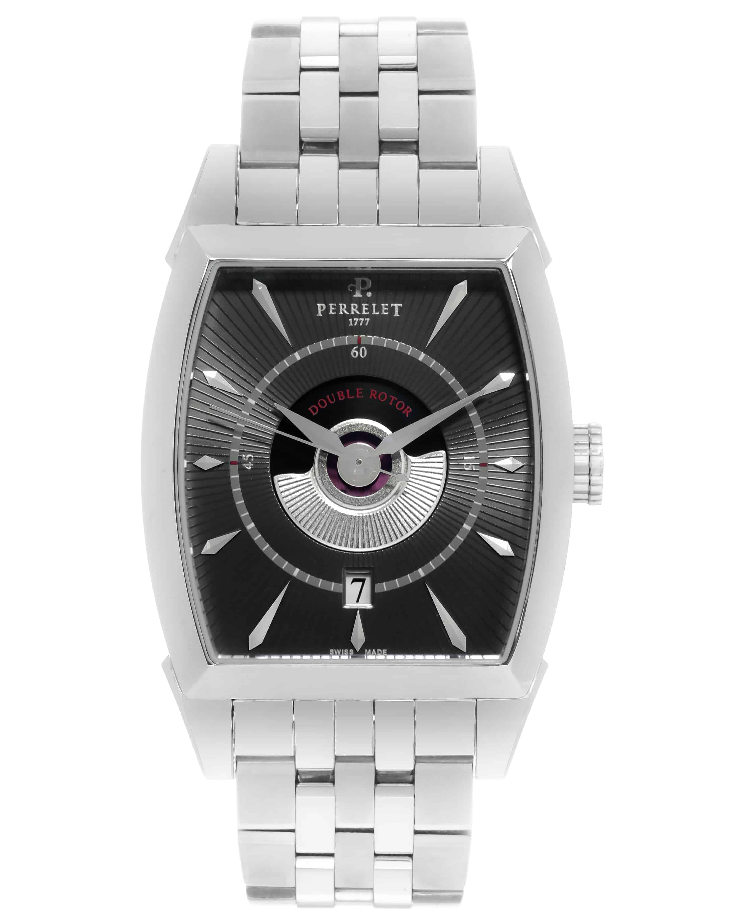 Perrelet Double Rotor Tonneau Stainless Steel Automatic Men's Watch A1029/B