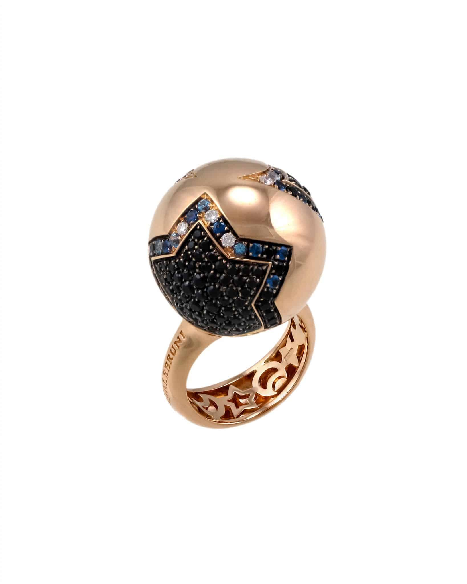 """PASQUALE BRUNI – """"SOGNI D'ORO"""" 18K Red Gold Star-Moon Ring 14033R #14"""