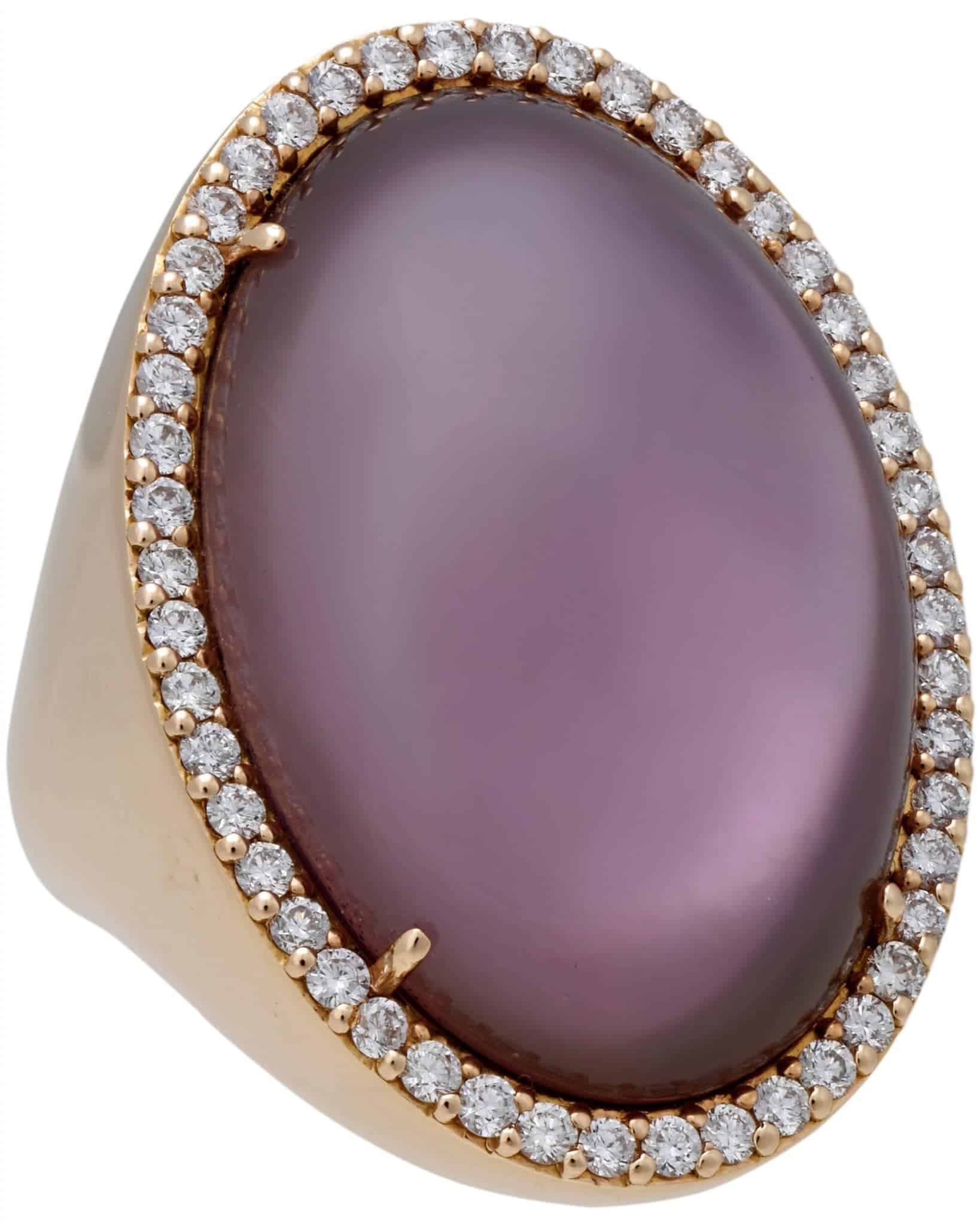 Roberto Coin 18K Rose Gold Amethyst Mother of Pearl Diamond Ring – Size 7.5