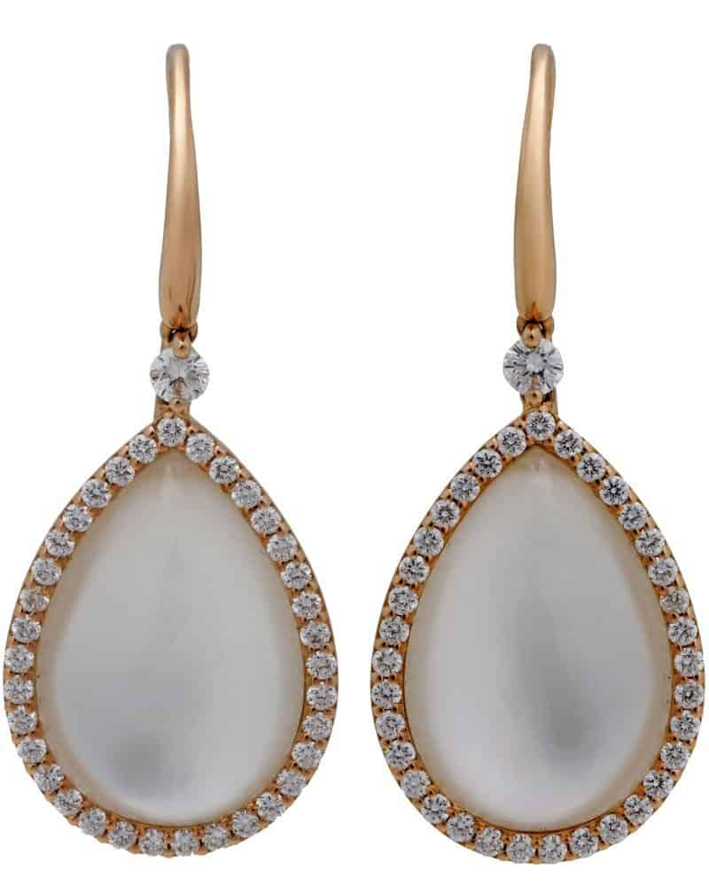 Roberto Coin 18K Rose Gold Rock Crystal Mother of Pearl Diamond Earrings 473997AXERMP