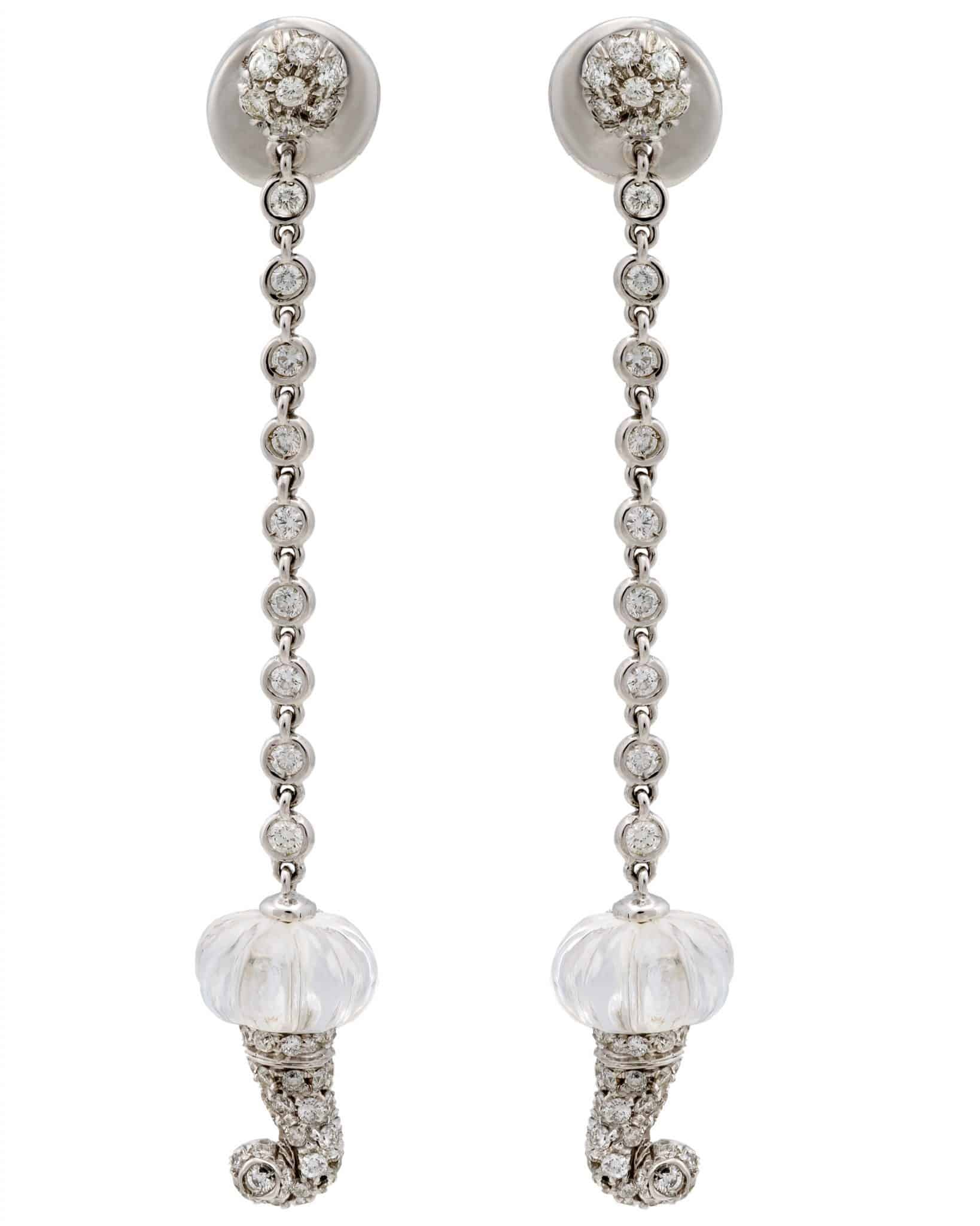 Chantecler 18K White Gold Contemporary Crystal & Diamond Earrings – 61836