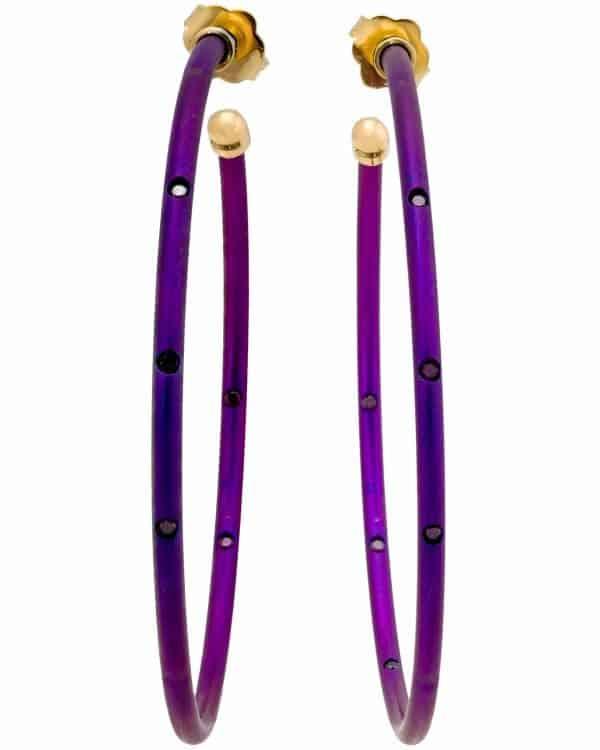 Chantecler 18K Yellow Gold and Titanium Thin Purple Hoop Earrings – 61902