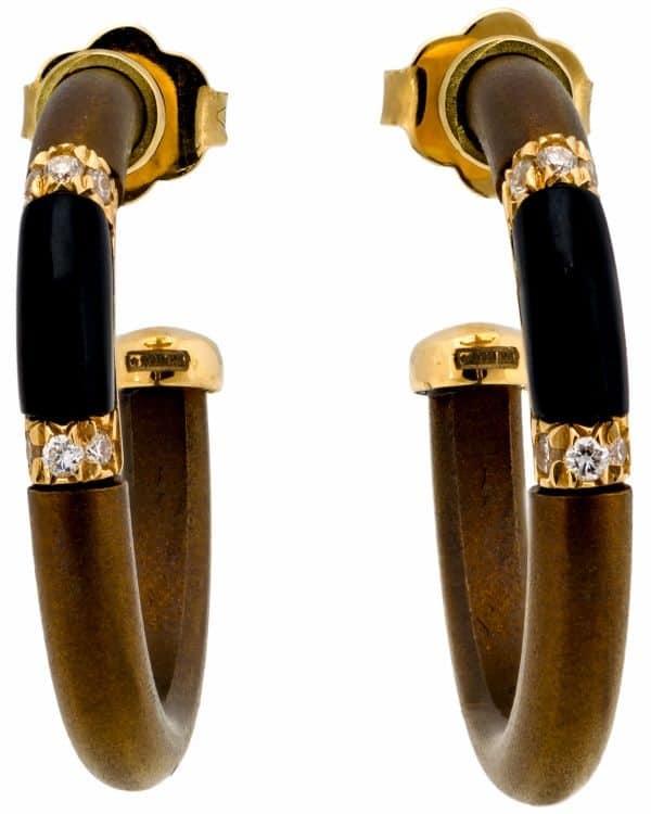 Chantecler 18K Yellow Gold & Titanium Contemporary Hoop Earrings – 61914
