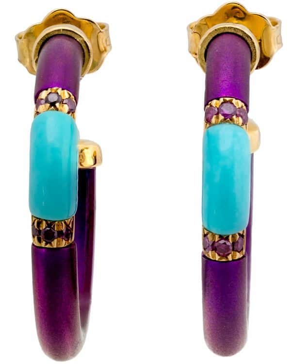 Chantecler 18K Yellow Gold & Titanium Purple & Turquoise Hoop Earrings – 61901