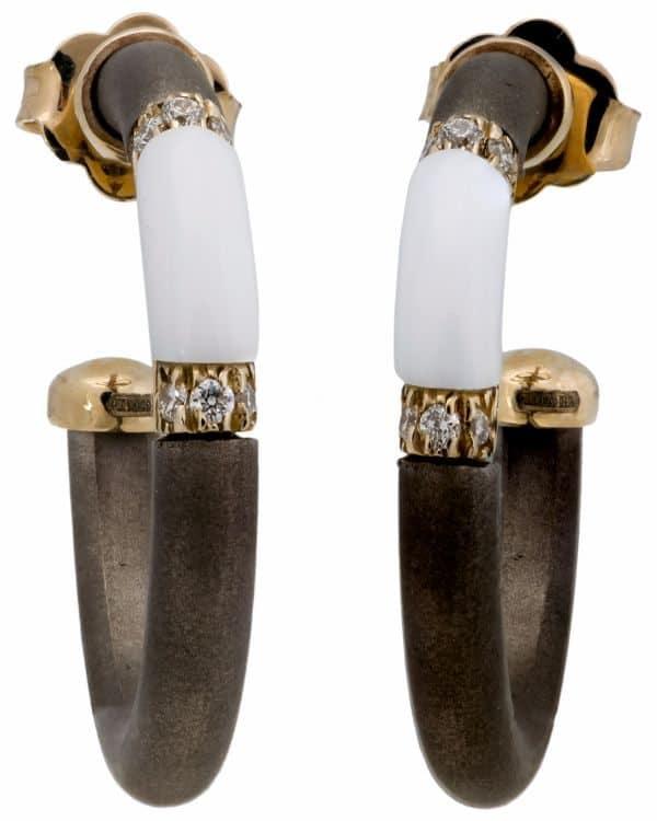 Chantecler 18K Yellow Gold & TitaniumTridacna Hoop Earrings – 61913