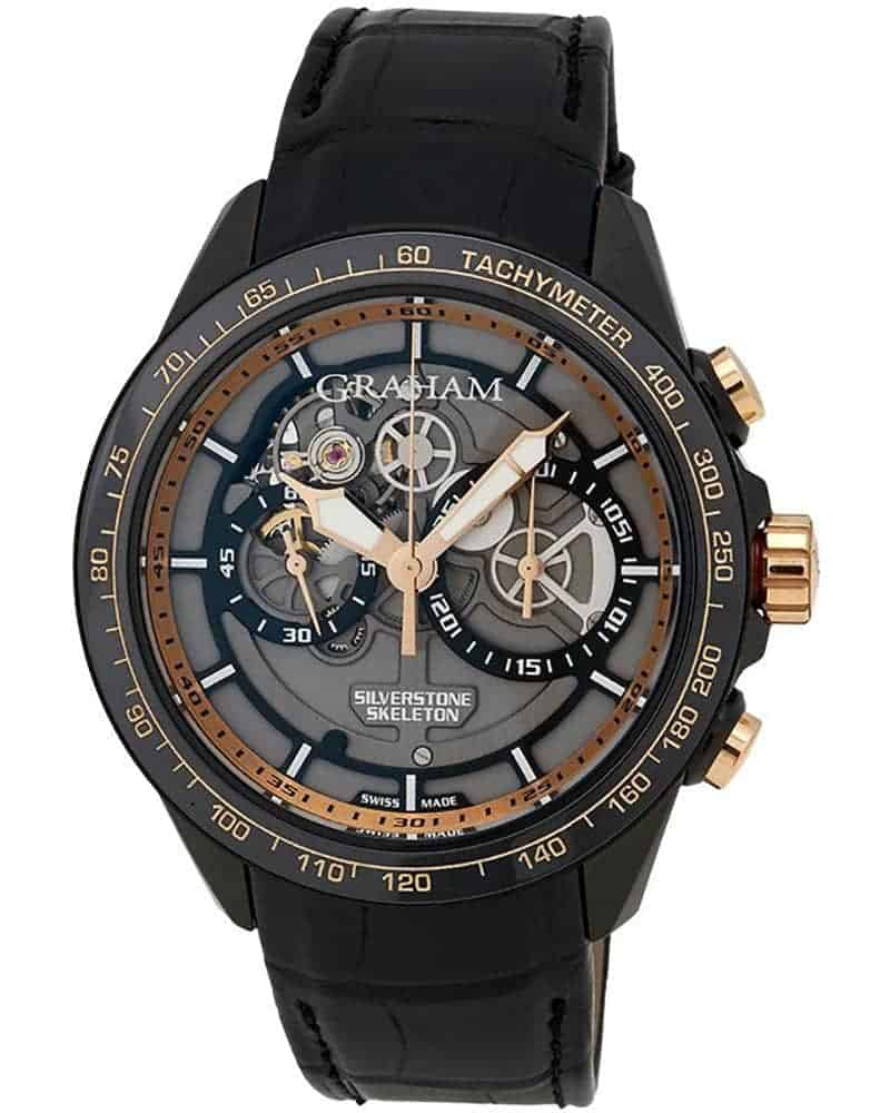 Graham Silverstone RS Skeleton Black and Gold Chronograph Men's Watch – 2STAZ.B02A.C160H