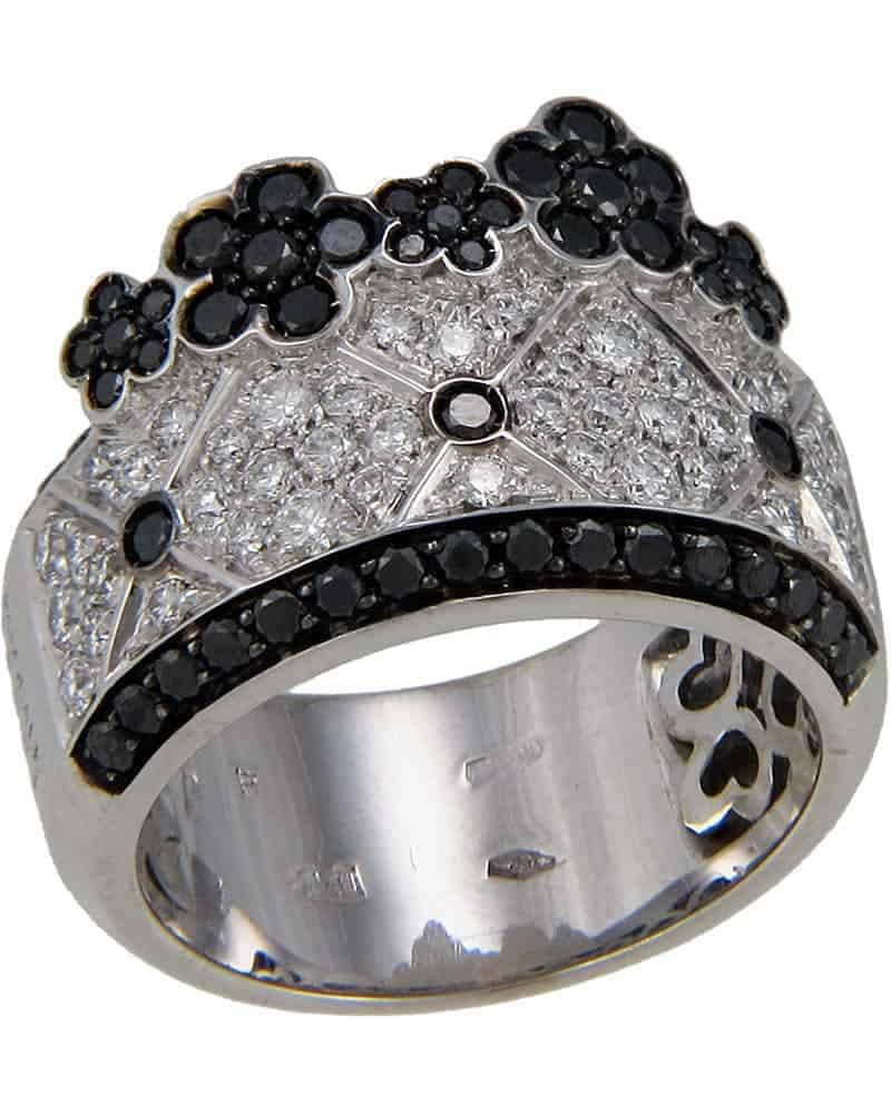 "PASQUALE BRUNI – ""Lulu"" 18K White Black Gold Flowers Ring – Size 6.5"