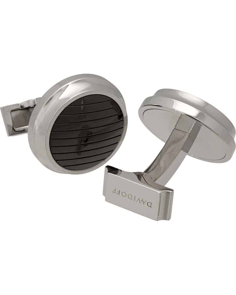 "DAVIDOFF – ""Velero"" Polished Steel and Black PVD Coating Cufflinks"