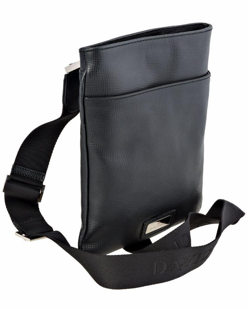 DAVIDOFF – Calf Leather Flat Postino Zip Black Shoulder Bag
