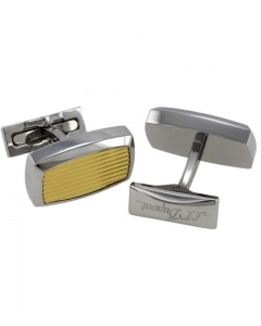 S.T. DUPONT - Guilloche Style Yellow Gold & Palladium Plated Stainless Steel Cufflinks