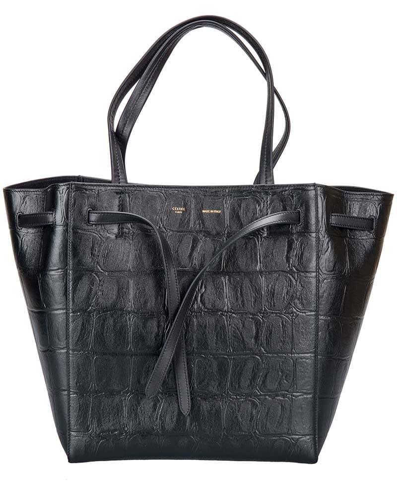 Celine Small Cabas Phantom Handbag with Belt in Black 176023ACP.38NO
