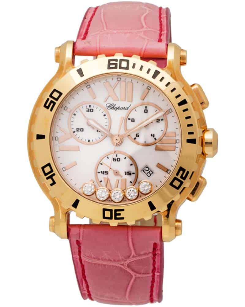 Chopard 18K Rose Gold Happy Sport Quartz Chronograph Ladies Watch 283581-5001
