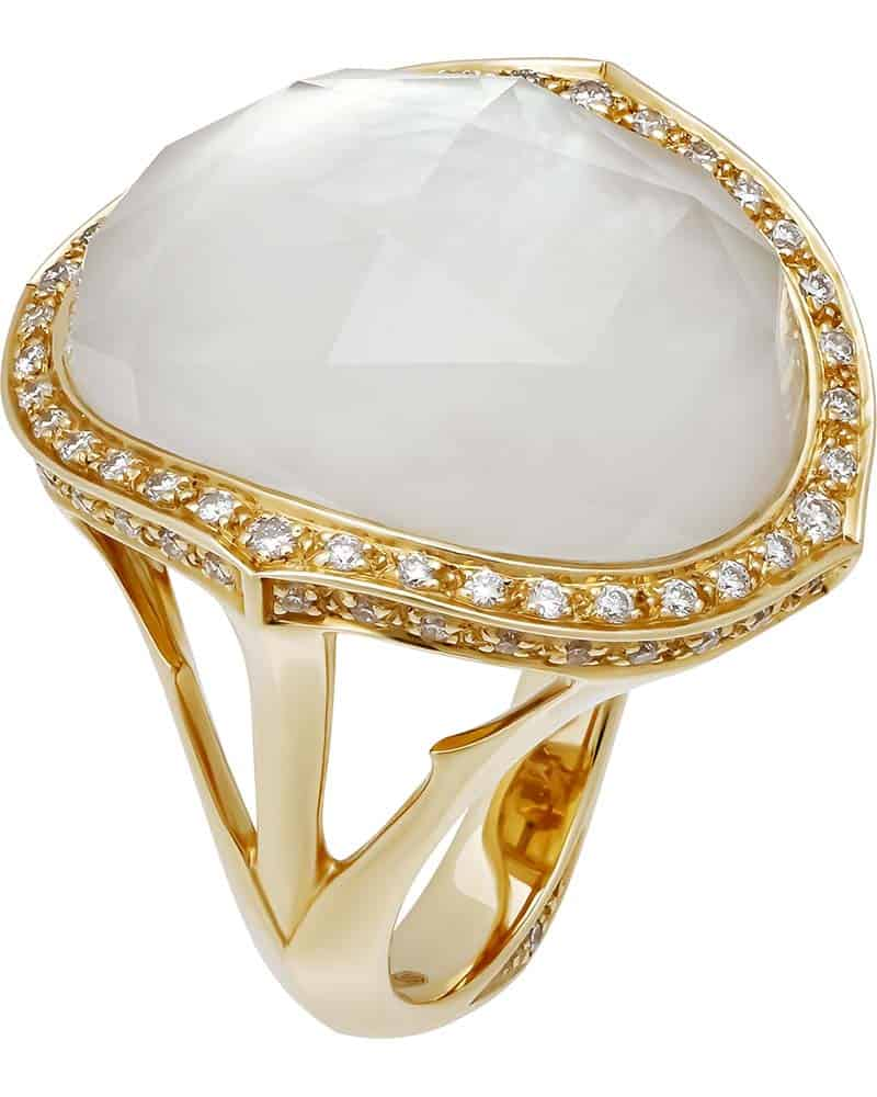 STEPHEN WEBSTER – 'Crystal Haze' 18K Yellow Gold Derby Ring, Size 6.25