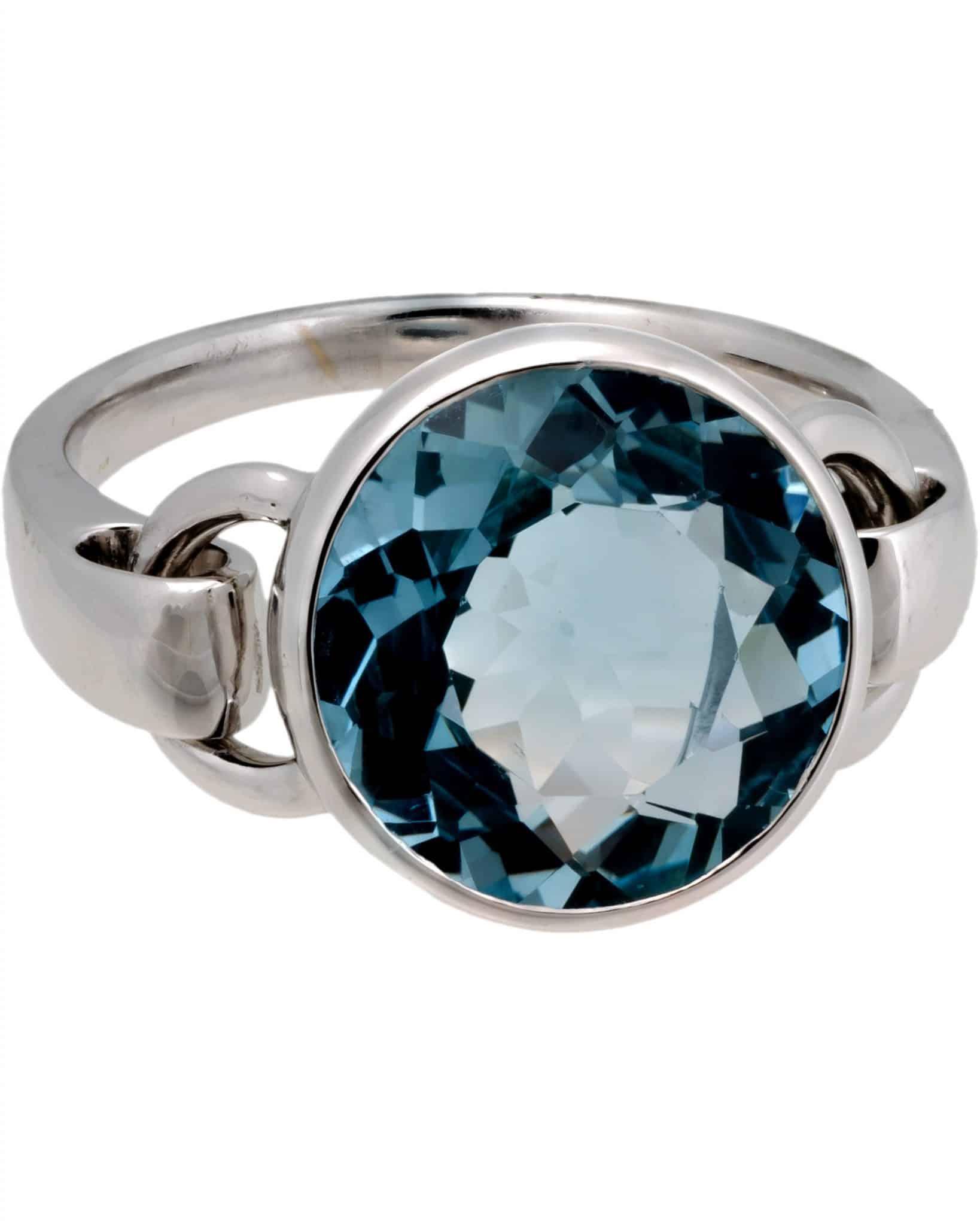 POIRAY - Indrani White Gold Blue Topaz Ring - Size 6.75