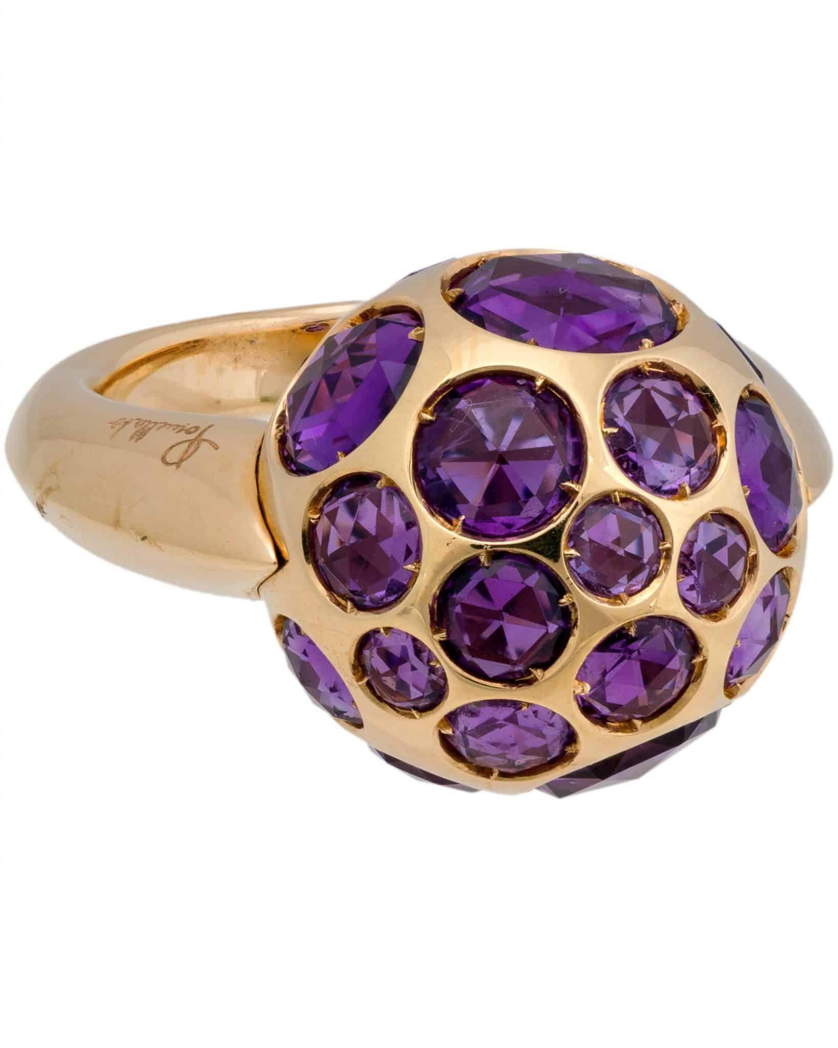 POMELLATO Harem 18K Rose Gold and Amethyst Ring - Sz 6.5