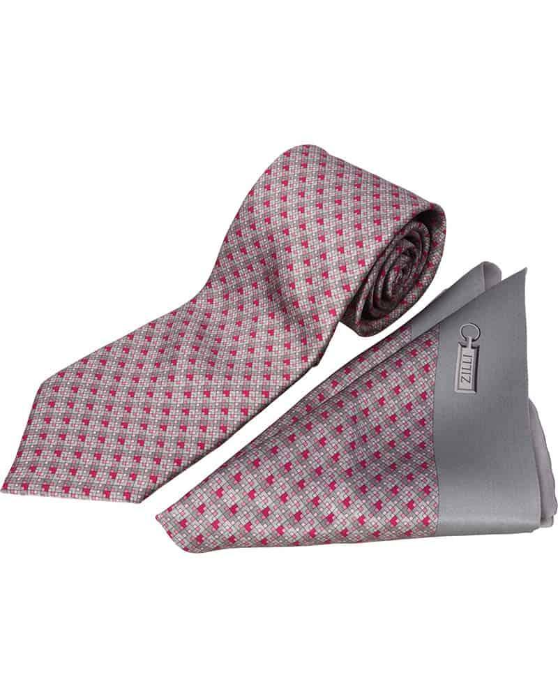 ZILLI – 100% Silk Tie & Pocket Square Set Grey with Pink Squares- 5793V06