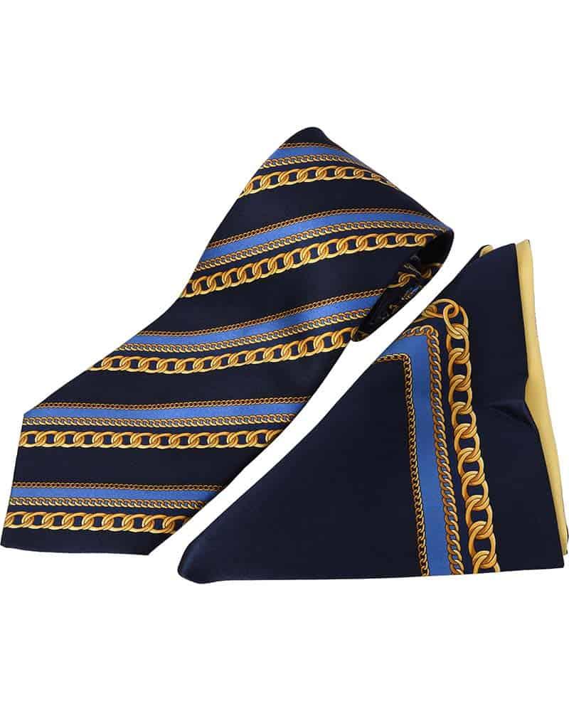 ZILLI – 100% Silk Tie & Pocket Square Set Navy with Blue/Gold Stripe pattern – 4746V03