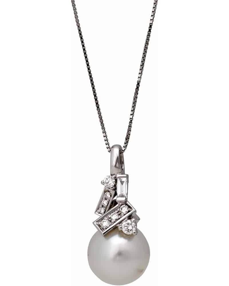 MIKIMOTO – 18K White Gold, White Diamonds and Cultured Pearl Pendant Necklace