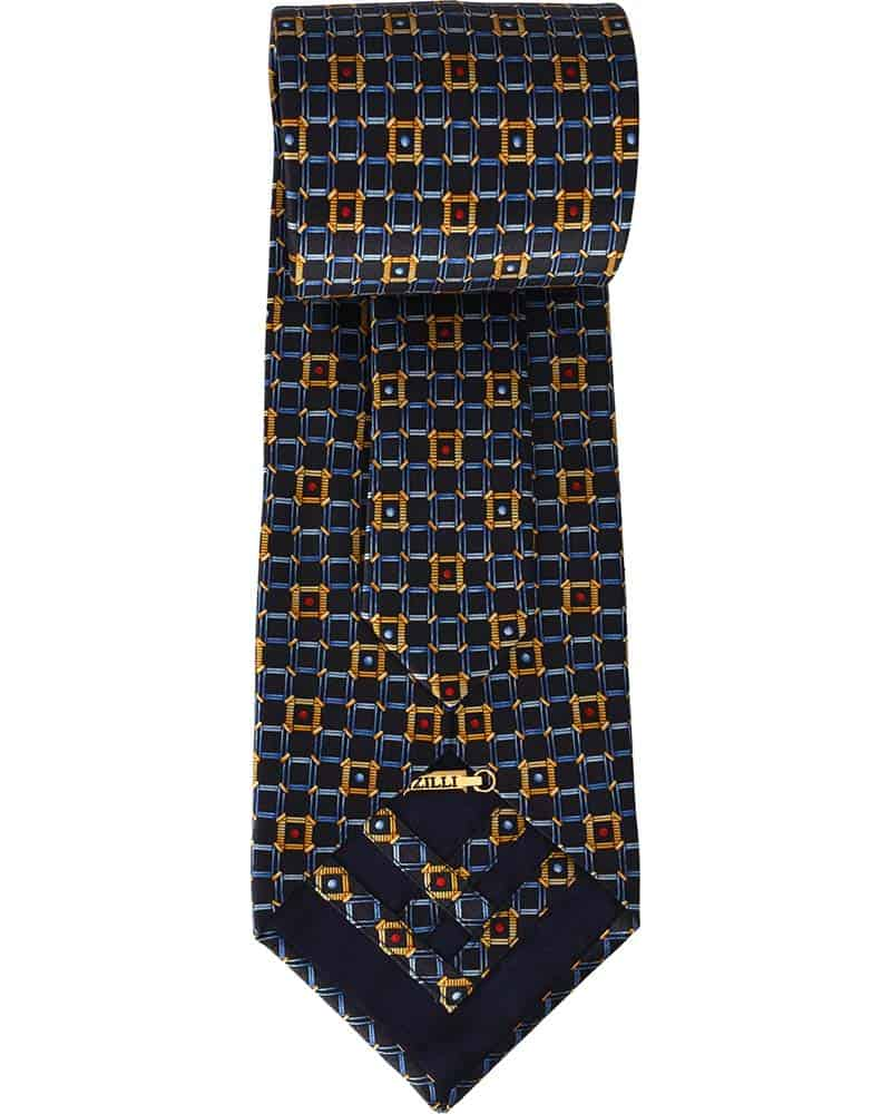 Zilli - 100% Silk Tie & Pocket Square Set, Black With Yellow, Blue, And Red Pattern 4400V09