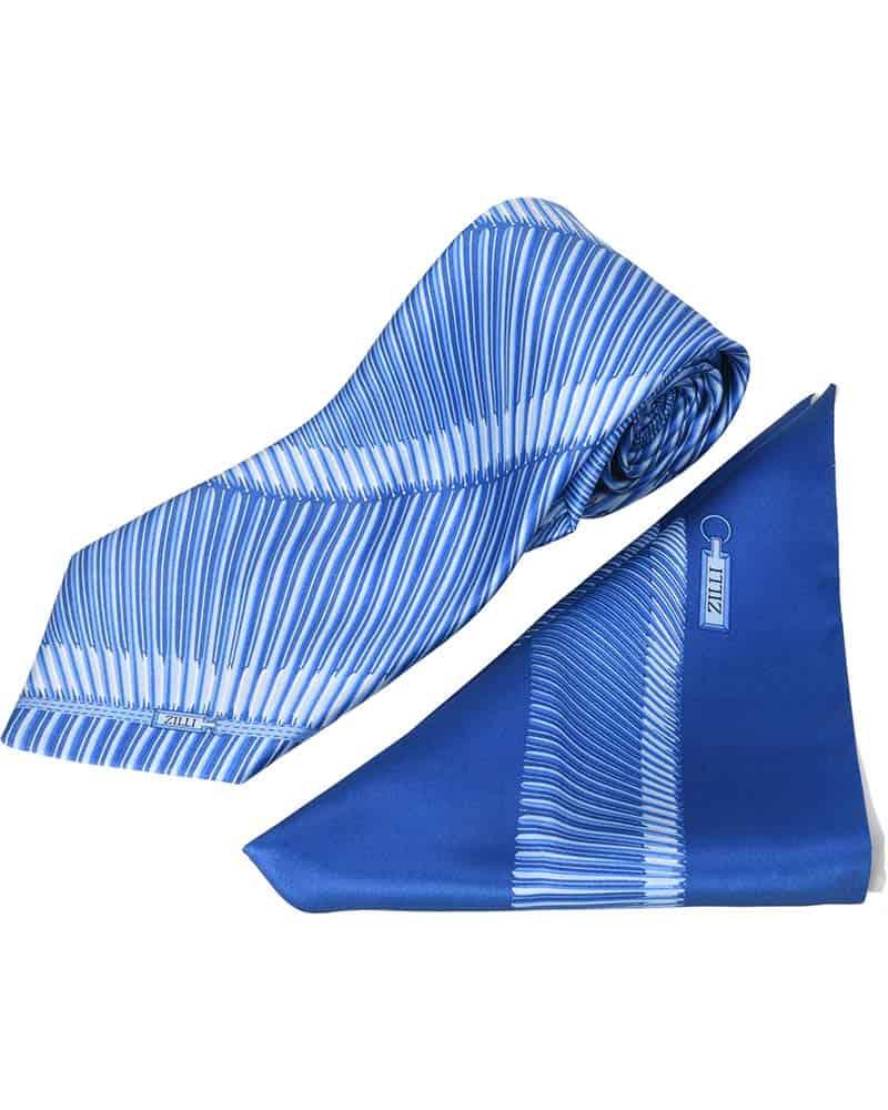 ZILLI – 100% Silk Tie & Pocket Square Set, Blue with Dark Blue Pattern – 5341V03