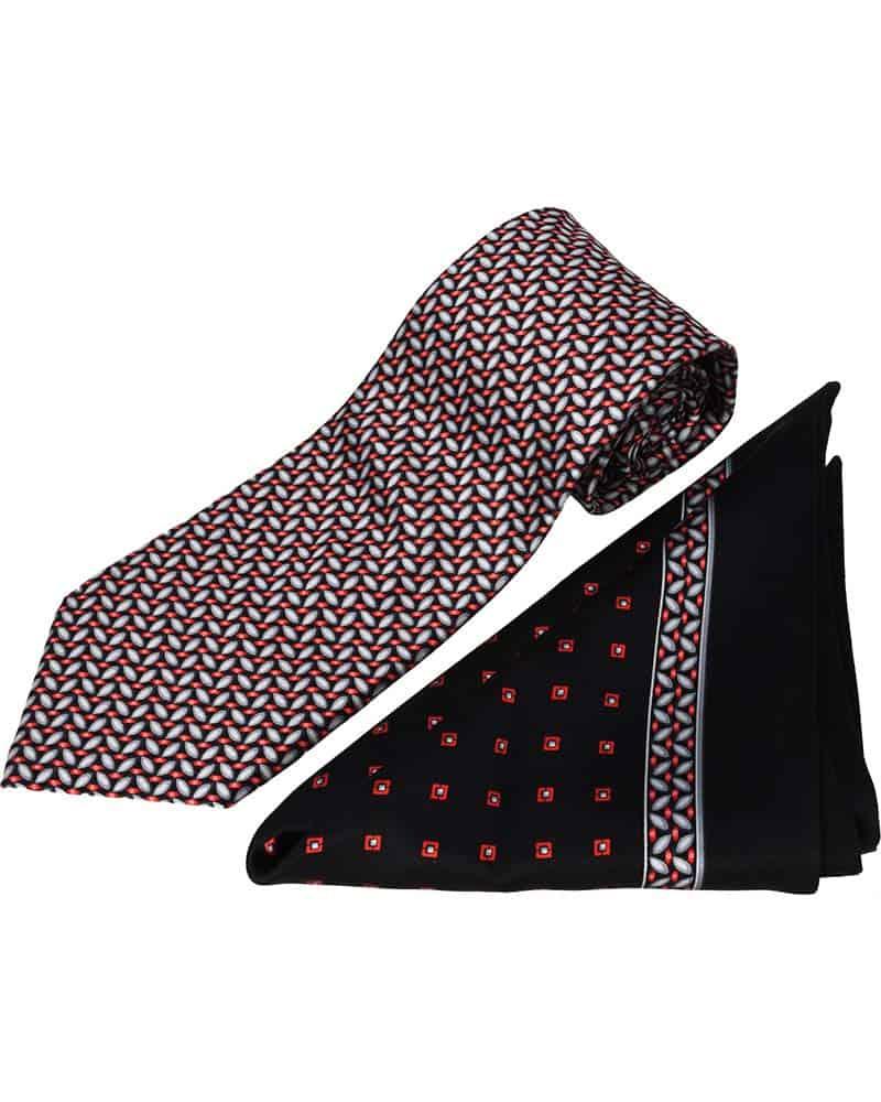ZILLI – 100% Silk Tie & Pocket Square Set, Black, Red, and Gray Pattern – 4494V09