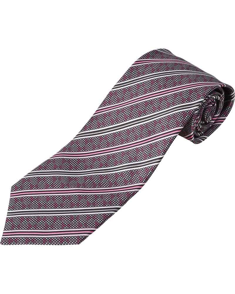 ZILLI – 100% Silk Tie Pink/Grey Pattern – 40054-11201776/C1V06