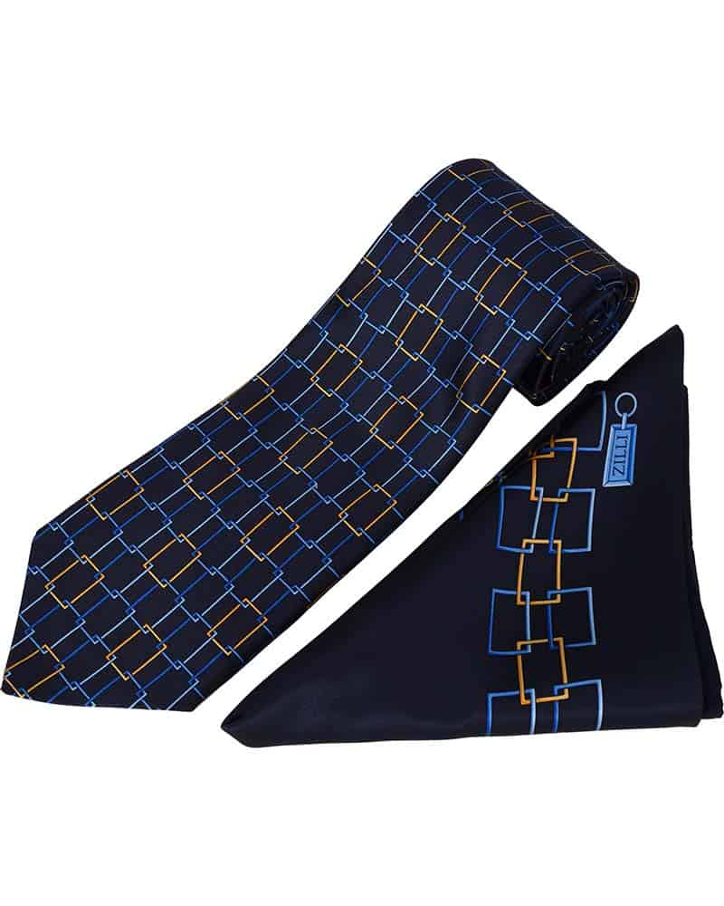 ZILLI – 100% Silk Tie & Pocket Square Set, Navy with Blue/Yellow – 4881V01