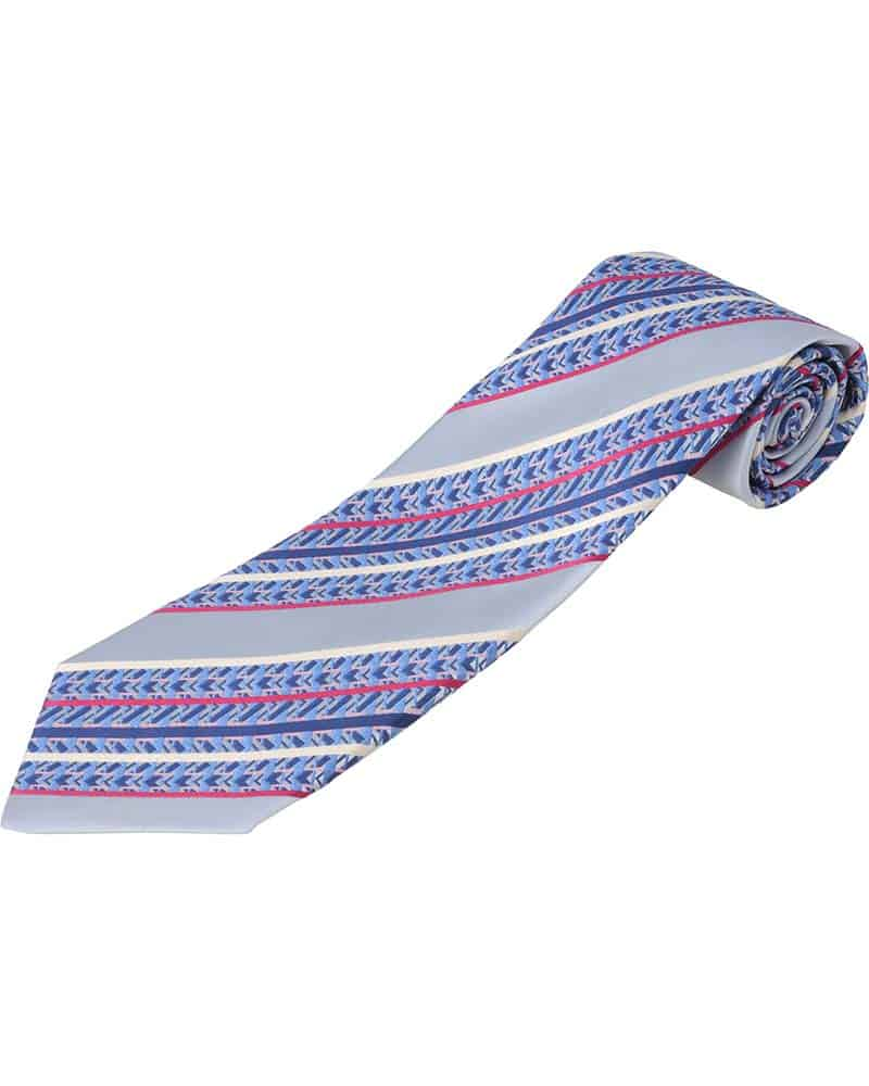 ZILLI – 100% Silk Tie, Gray, Yellow, Pink and Blue Stripes Pattern – 5900V08