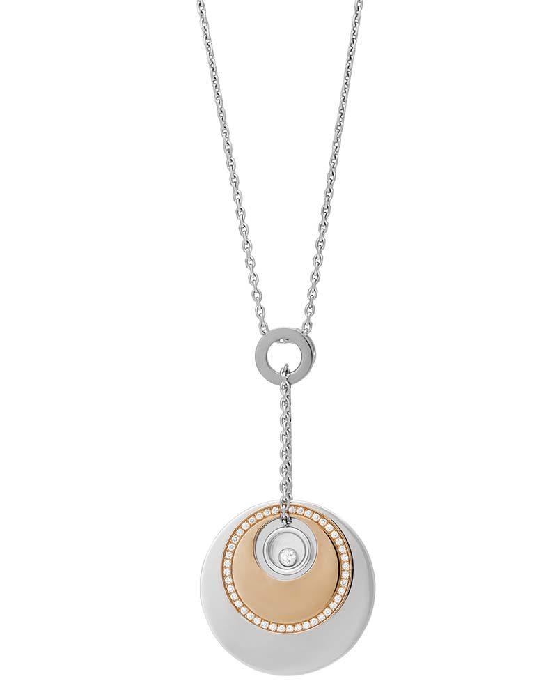 Chopard 18K White Gold/Rose Gold Happy Diamond Pendant Necklace 796481-9001