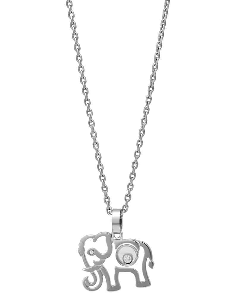 Chopard 18K White Gold Happy Diamond Elephant Pendant Necklace 797689-1001