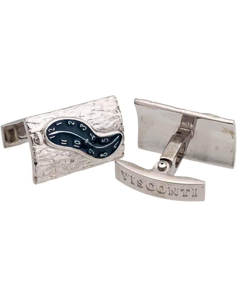 VISCONTI - Dali Blu Enamel Silver Trim Cufflinks 980C015