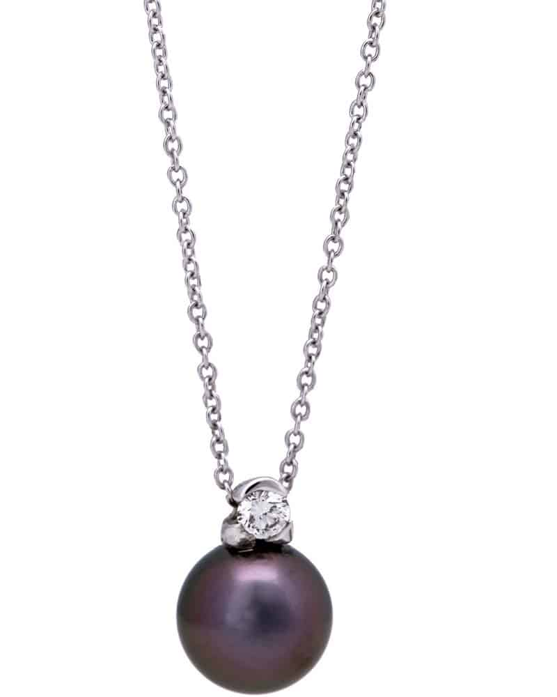 Mikimoto Pearls Necklace: 18K White Gold, Diamond And Tahitian Pearl