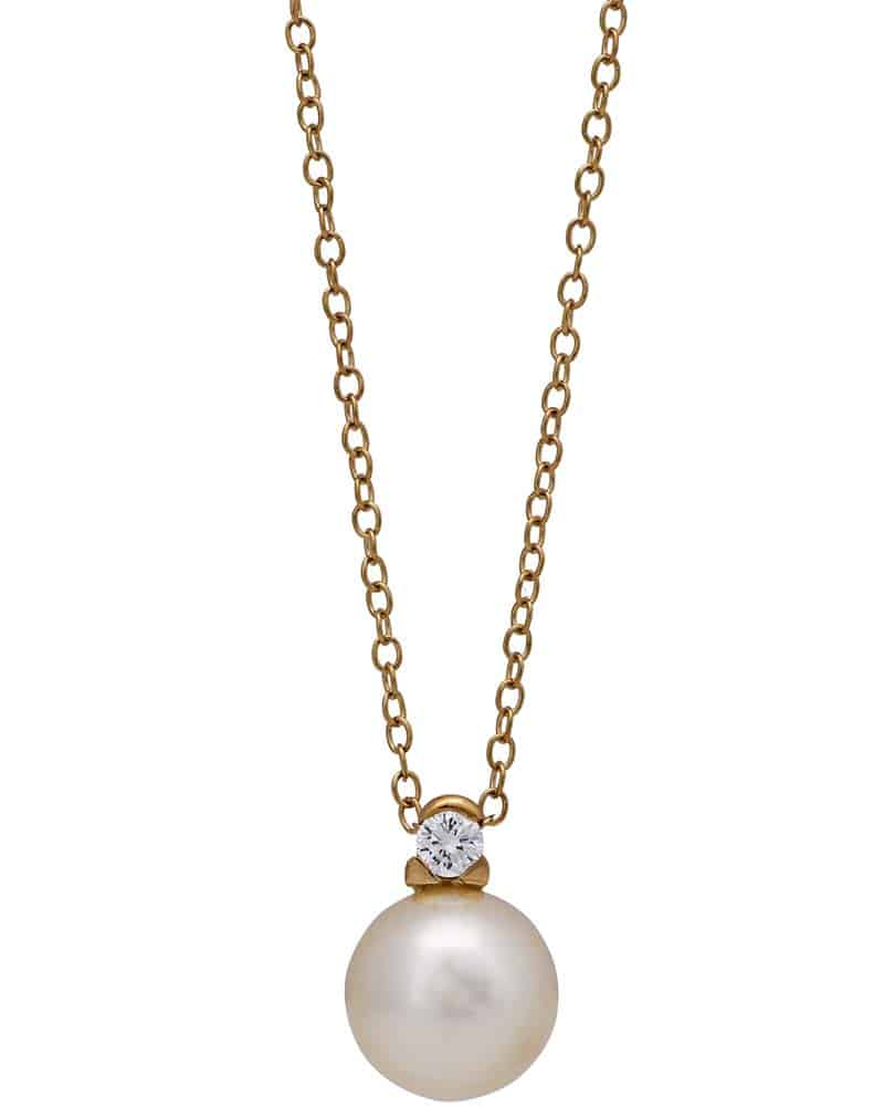 Mikimoto Pearls Necklace: MIKIMOTO 18K Yellow Gold Diamonds And Cultured Pearl