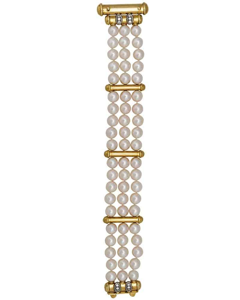 MIKIMOTO – Vintage M Akoya Bracelet 18k Yellow Gold/Diamond Clasp