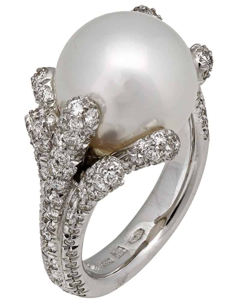 MIKIMOTO – 18K White Gold, White Diamonds and Cultured Pearl Ring Size 6.5