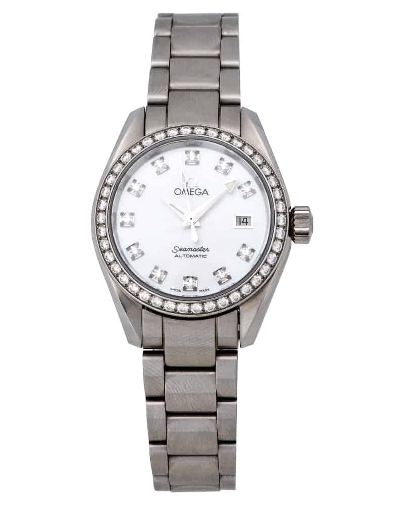 Omega seamaster aqua terra diamond automatic ladies watch ebay for Aqua marine watches