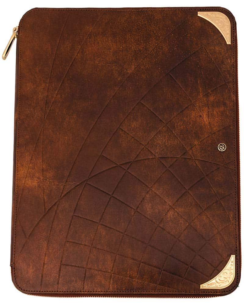 S.T. DUPONT – 'D Line Llg' Shoot The Moon Brown Leather & Yellow Gold Conference Pad
