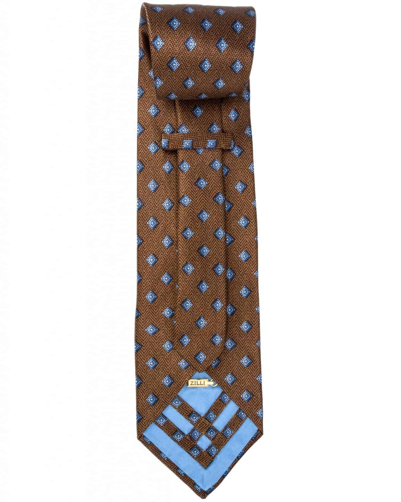 Zilli - 100% Silk Tie & Pocket Square Set Brown 4367V02