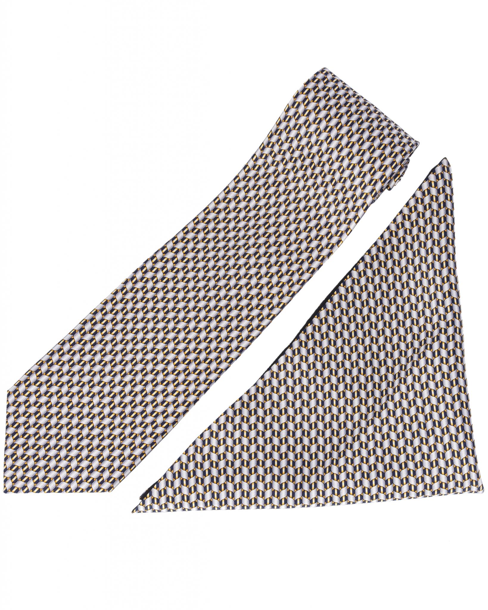 ZILLI – 100% Silk Tie & Pocket Square Set Grey 4392V02