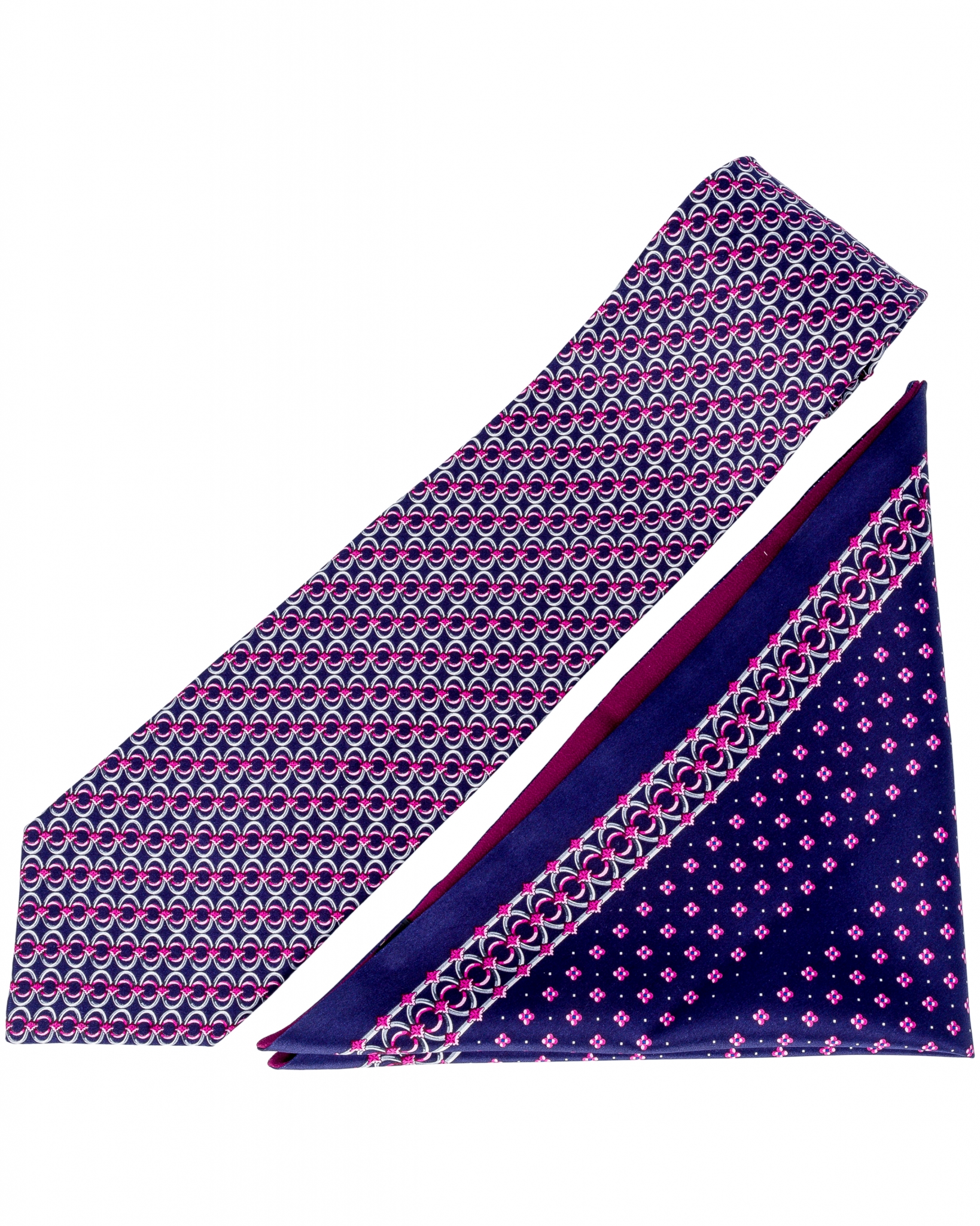 ZILLI – 100% Silk Tie & Pocket Square Set Navy Blue|Purple 4493V13