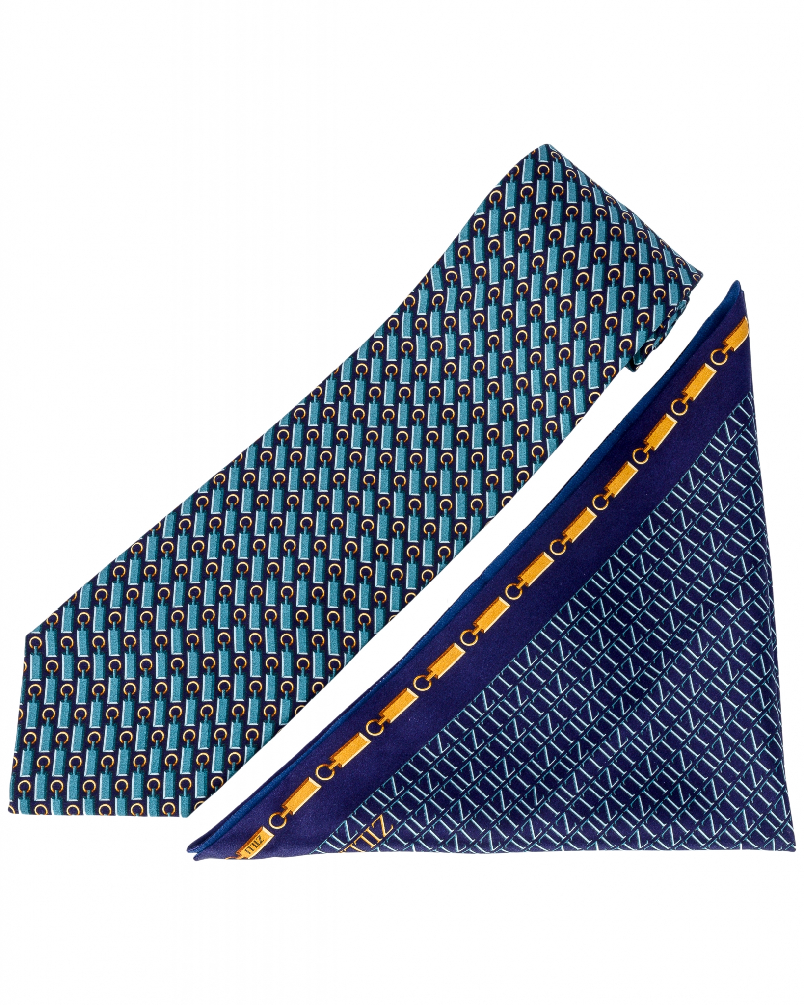 ZILLI – 100% Silk Tie & Pocket Square Set Navy Blue|Yellow 4574V10