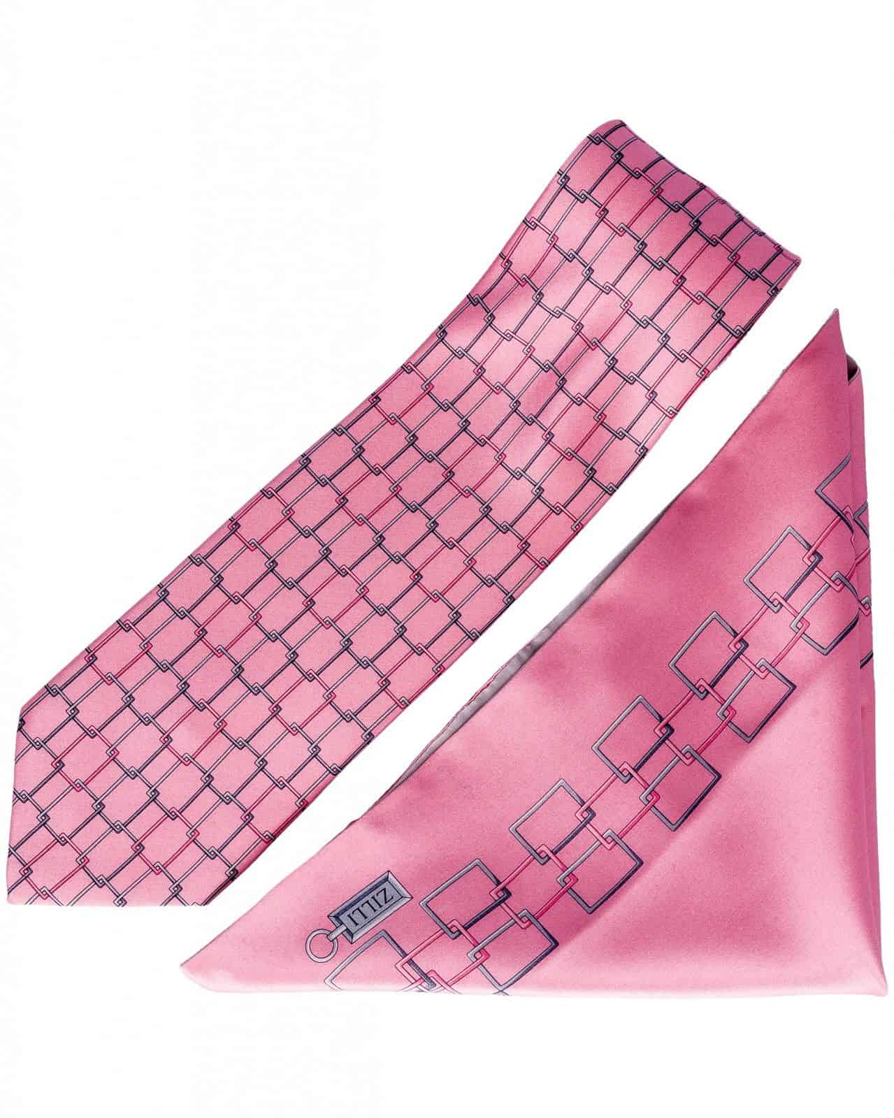 ZILLI – 100% Silk Tie & Pocket Square Set Pink 4881V08