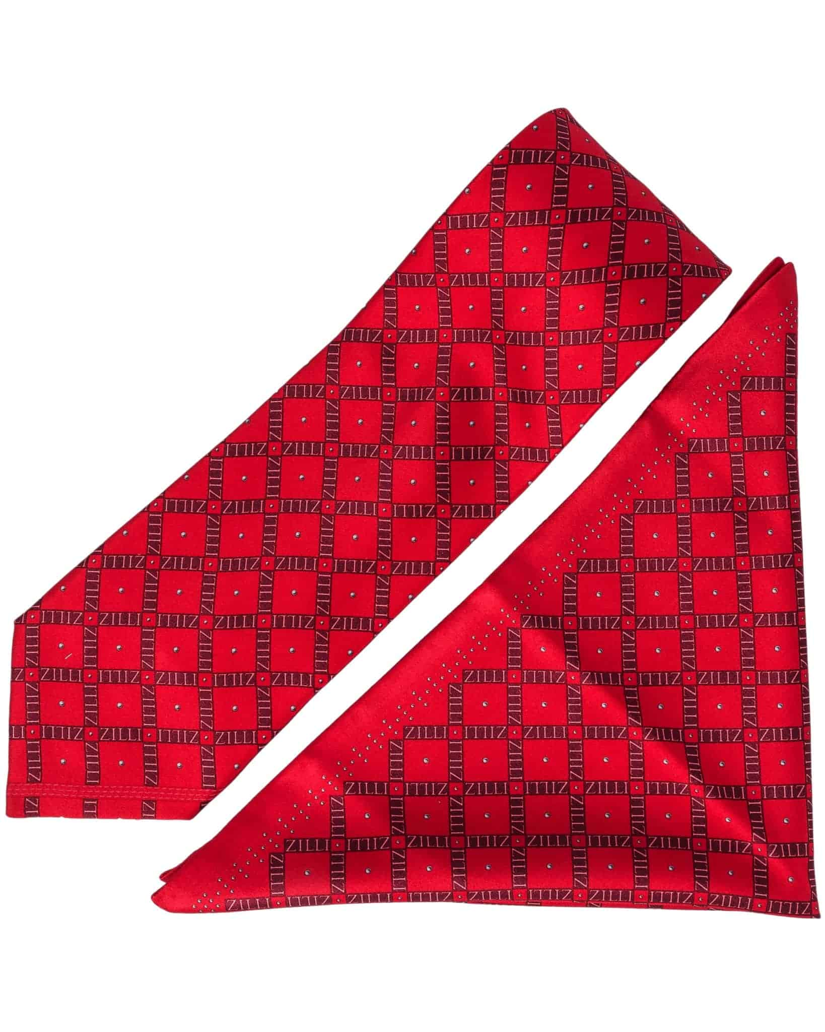 ZILLI – 100% Silk Tie & Pocket Square Set Red 5050V06