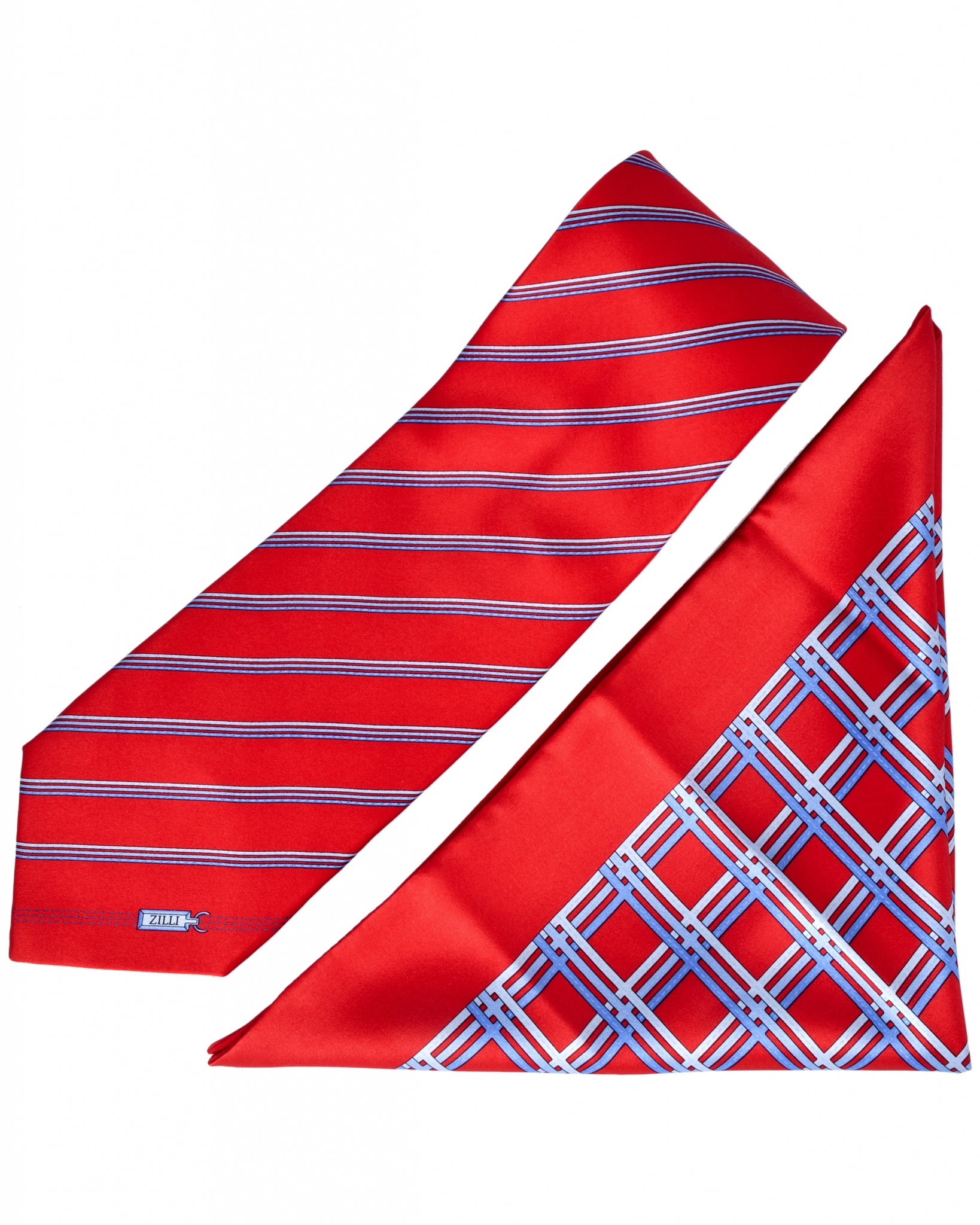 ZILLI – 100% Silk Tie & Pocket Square Set Red 5242V10
