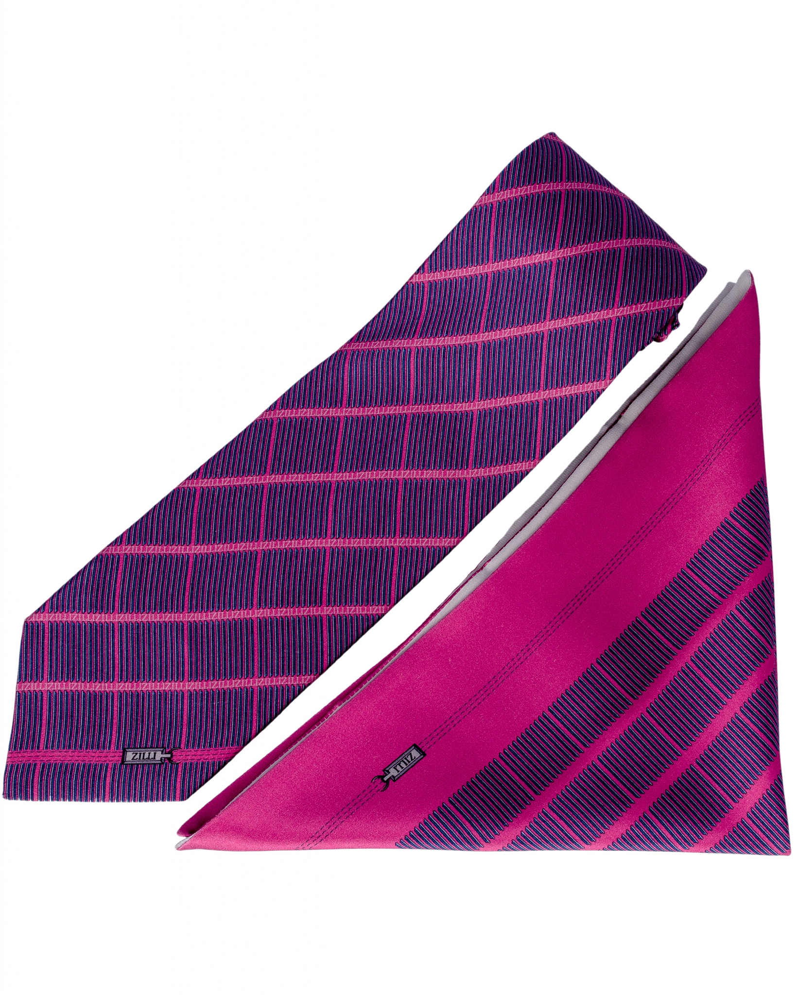 ZILLI – 100% Silk Tie & Pocket Square Set Pink|Purple 5274V09