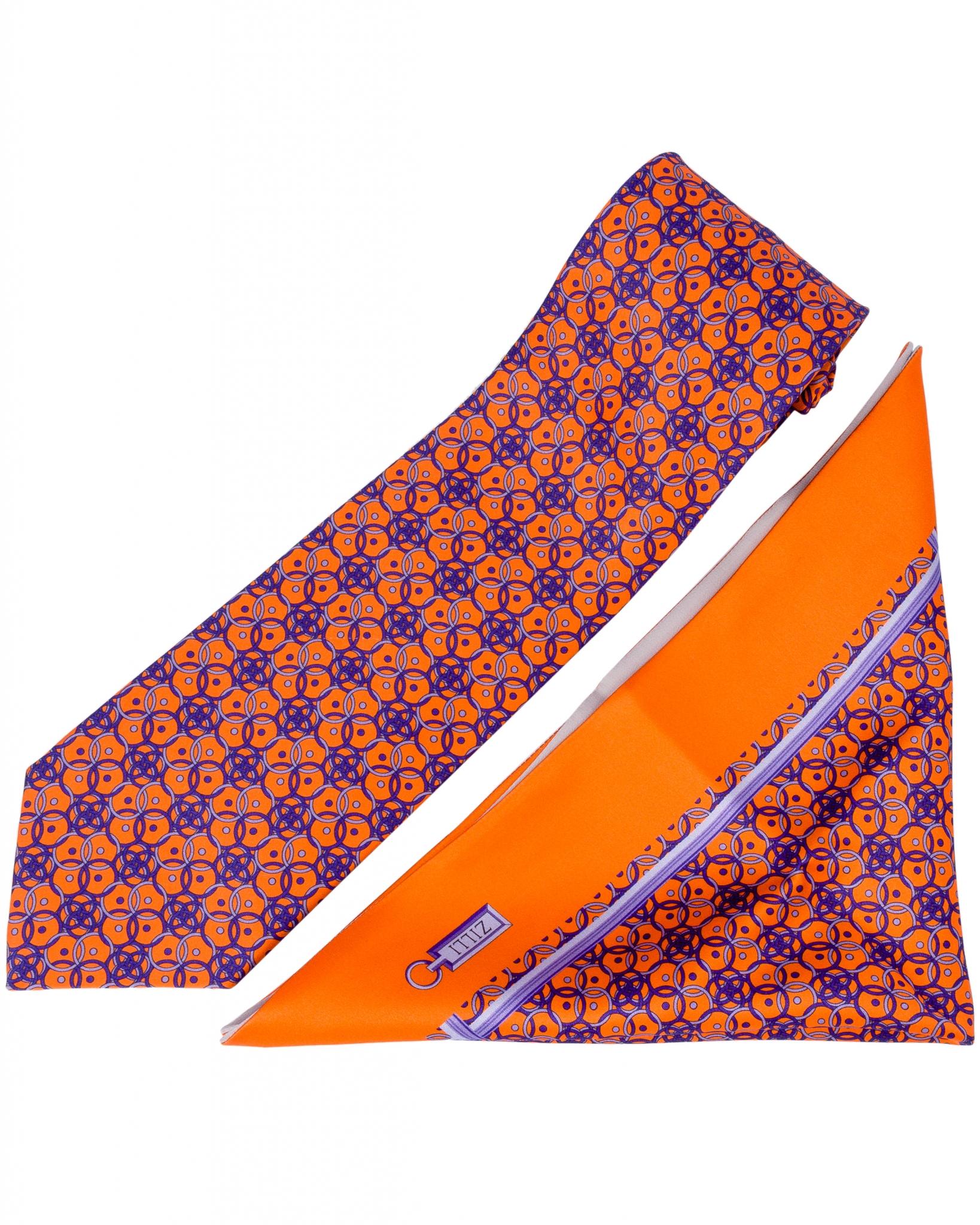 ZILLI – 100% Silk Tie & Pocket Square Set Orange|Blue 5732V04