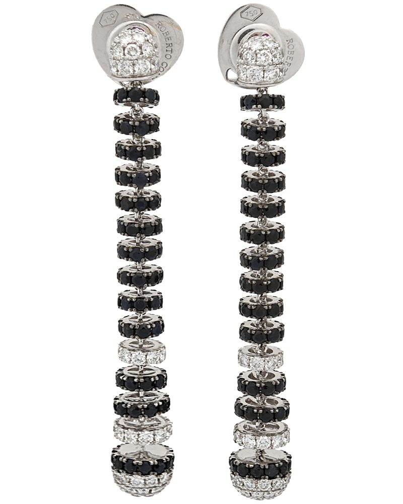 ROBERTO COIN 18K White Gold Black Sapphire Diamond Earrings 211449AWERBD