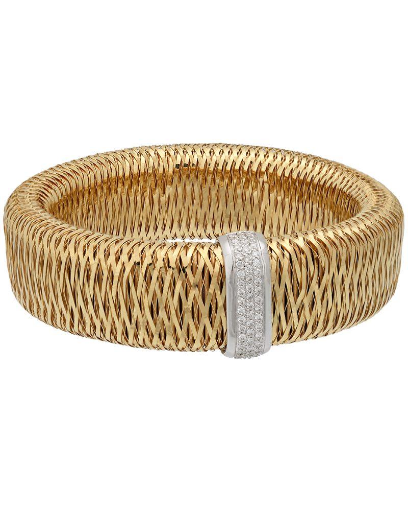 Roberto Coin 18K Yellow and White Gold Primavera Mesh Diamond Bangle 557765AJBAX0