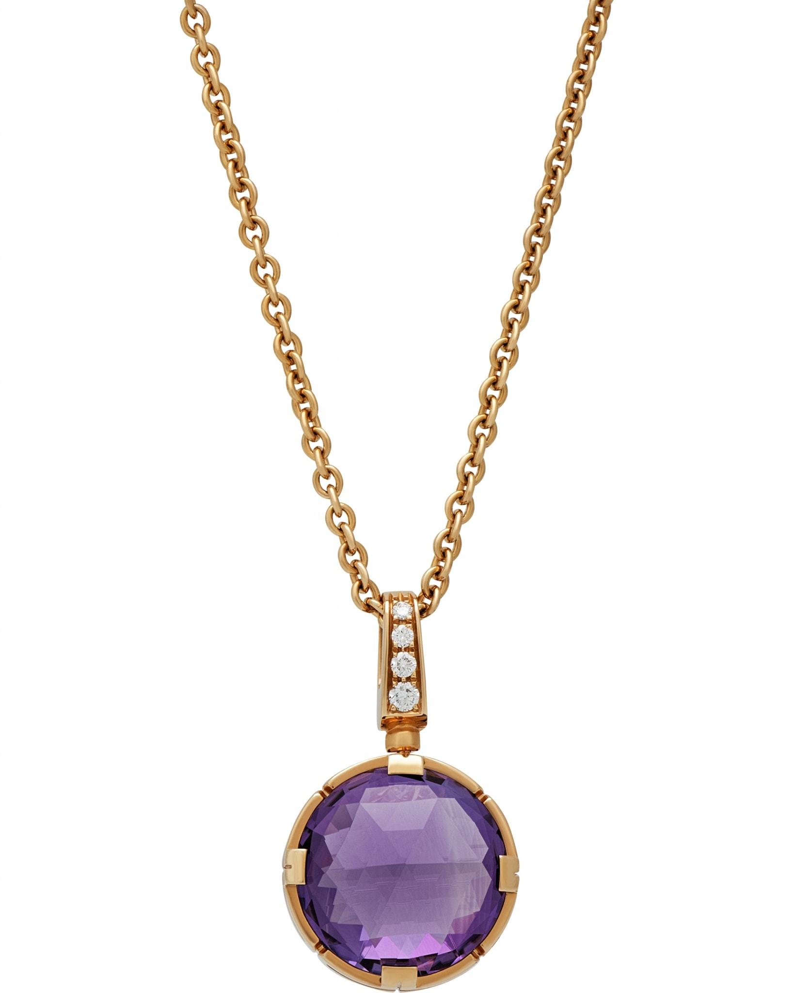 Bvlgari Parentesi Cocktail 18k Pink Gold Necklace, Amethyst, Pave Diamonds CL855241 344849