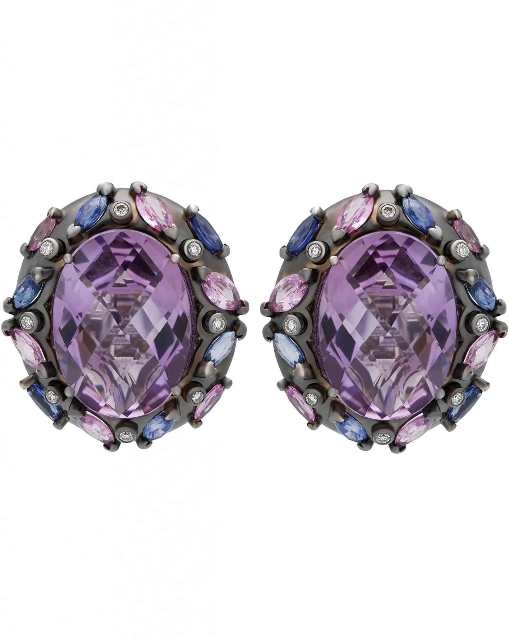 GIANNI LAZZARO – 'Mangurian' 18K White Gold, Diamonds, Blue and Pink Sapphires, & Amethysts, Earrings